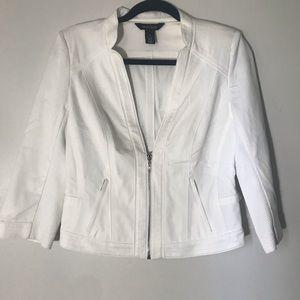 White House/Black Market 3/4 Sleeve White Jacket
